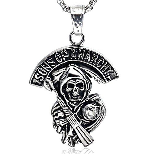 Joyas Stayoung 'Sons of Anarchy' diseño de fantasmas/diseño de calavera con pistola hombre collar con colgante de acero inoxidable, de plata y