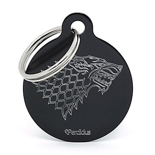 PERDIDUS Placa Identificativa para Perro 'Stark', Grabado del Nombre y Teléfonos, Negro