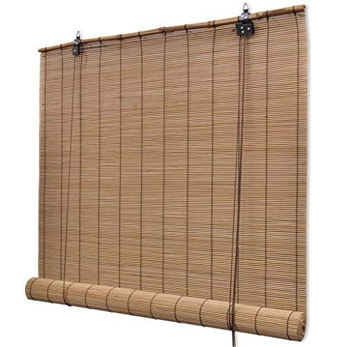 vidaXL Roller Blind Bamboo 80x220cm Brown Home Window Curtain Shade Cov