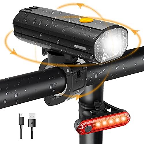 Luci Bicicletta LED Ricaricabile USB 4000mAh Luce Anteriore Bici Set Fanalini Anteriori e Posteriori Bicicletta 450LM Impermeabile IP65 Fanale Luci Bici MTB Super Capacità Funziona Come Power Bank