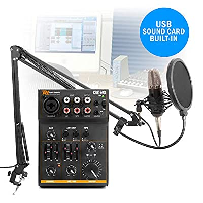 Power Dynamics Podcast Desktop Studio Microphone and 3 Channel USB Live Mixer Recording Set