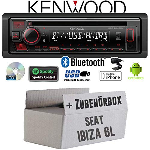 Autoradio Radio Kenwood KDC-BT430U - Bluetooth | Spotify | CD/MP3/USB - Einbauzubehör - Einbauset für Seat Ibiza 6L - JUST SOUND best choice for caraudio