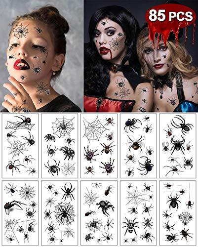 heekpek Tatuajes Temporales Halloween Araña para el Maquillaje de Fiesta 10 Hojas