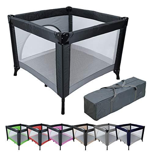 Monsieur Bébé ® Parc bébé de jeux pliable 94cm x 94cm avec matelas + Sac de transport - 7 coloris - Norme NF EN12227