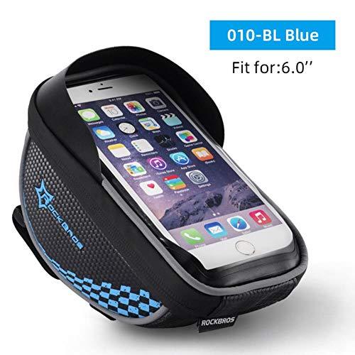 MNHI Fahrradtasche, 6 Zoll regensichere TPU-Touchscreen-Handy-Fahrradtasche, Halter Fahrradlenker-Tasche, s Rahmentaschenetui, 010-BL 6,0 Zoll, L.