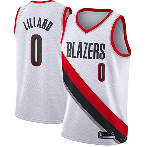 canottejerseyNBA Damian Lillard - Portland Trail Blazers #0 Basket Jersey Maglia Canotta, Swingman Ricamata, Abbigliamento Sportivo (S, Bianco)