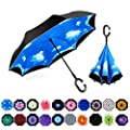 MRTLLOA Double Layer Inverted Umbrella with C-Shaped Handle, Anti-UV Waterproof Windproof Straight Umbrella for Car Rain Outdoor Use(Sky Blue)