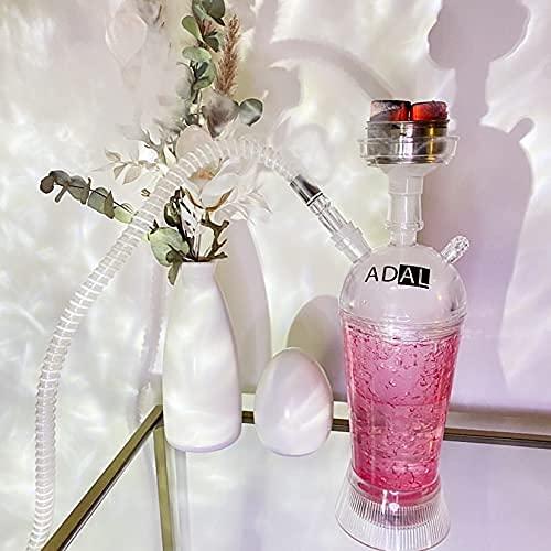 ADAL ICE-Shisha   Kühler- Shisha Rauch   ICE Travel-Shisha   Komplett-Set inkl. abnehmbarer LED Untersetzer + Zange & Schlauch   Für Zuhause & Unterwegs   Plexiglas - Acryl (Lila)