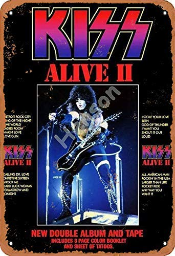 Kiss Alive Ii Retro Zinn Zeichen Vintage Eisen Malerei Aluminium Plakette Nicht verrostet Poster Metall Kunst für Cafe Bar