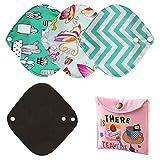 Zcoins Lot de 4 protège-slips réutilisables pour femme serviette hygiénique lavable Petit format 18 cm