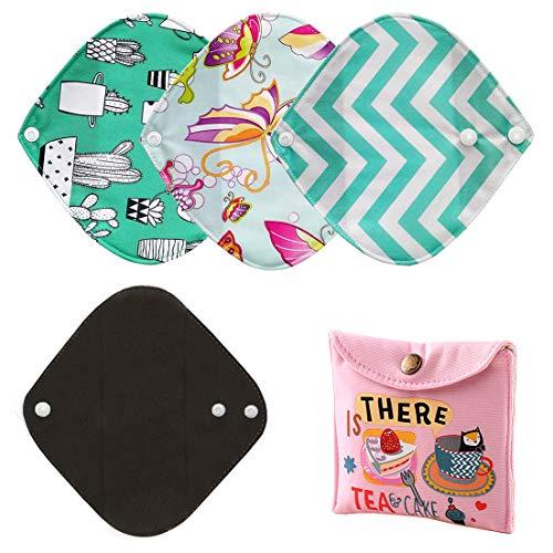 Zcoins - Confezione da 4 salvaslip igienici riutilizzabili per donne, piccoli, 20,3 cm