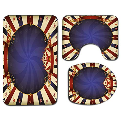 3Pcs Non-Slip Bathroom Rug Toilet Seat Lid Cover Set Vintage Soft Skidproof Bath Mat Circus Theme Retro Carnival Tent Ribbon Figures Poster Like Image,Multi Absorbent Doormat Bedroom Living Room Kitch