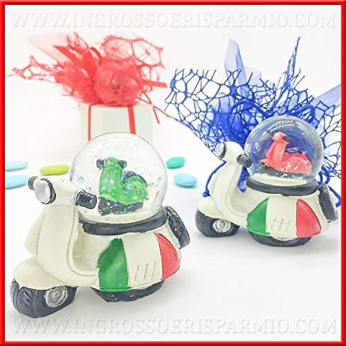 Ingrosso e Risparmio Schön und Spart Vespa 50 Special mit Italien Fahne und Schneekugel mit motorischem Miniatur, originelle Gastgeschenke, Taufe, Kommunion, Geburtstag