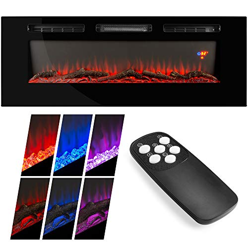 Best Choice Products 1500W 40in Electric Fireplace Heater Recessed and Wall Mounted w/Remote, Logs, Crystal Stones