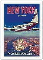 ドアの装飾品、ニューヨークアメリカボーイングオーバーマンハッタン島、ビンテージルック複製金属ティンサイン楽しいティンサインバー居酒屋ガレージディナーカフェ家の壁の装飾アールデコポスター