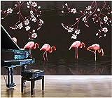 3D Foto Tapete Wandbild Hand Gezeichnete Magnolie Flamingo Wohnzimmer Wohnkultur 3D Wandbilder Tapete Für Wände 3 D-430 * 300Cm