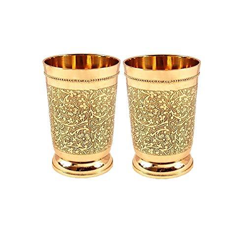 Set Of 2 Embossed Designer Brass Mint...