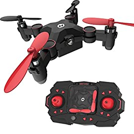 Holy Stone HS190 Foldable Mini Nano RC Drone for Kids Gift Portable Pocket Quadcopter with Altitude Hold 3D Flips and… 3 Altitude Hold Function: Powerful air pressure altitude hold function allows you to release the throttle stick and the drone will keep hovers at it's current height. Foldable and Easy to Carry: This mini quadcopter can be folded into the controller, which is small and easy to carry. One Key Take off / Landing: Drone automatically hovers at a set altitude after take-off and before landing making it easy to control and maneuver, especially for beginners who are not yet skilled.
