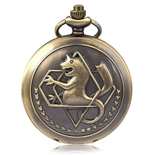Fullmetal Alchemist Pocket Watch with Chain, Anime Merch Pendant Necklace for Men Kids Boys Xmas Fathers Day Birthday Gift (Bronze)