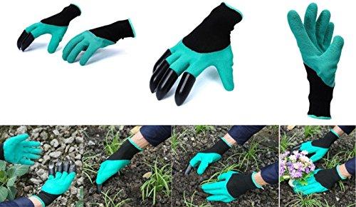 1 paire de gants de jardin avec 4 griffes - Imperméable - Anti-perforation