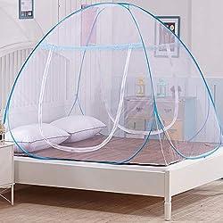OTraki Pop Up Mosquito Net Bed Portable Folding Double Entrance Narrow Mesh Mosquito Net Travel Anti Mosquito Bites Pop UP Mobile Mosquito Net Double Bed (180 * 200 * 150 cm)