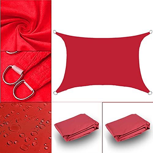 HAODELE Toldo Vela Impermeable 4.5x5.5m protección UV para Patio, Rojo