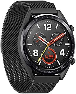SKEIDO Stainless Steel Replace Mesh Band Strap for Huawei Magic/Watch GT/Ticwatch Pro black