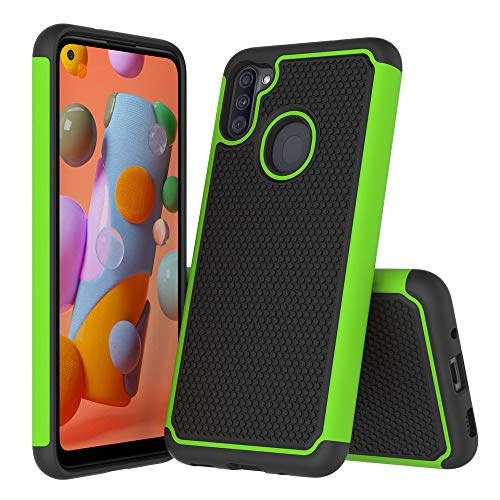 Samsung Galaxy A11 Case, Hock Absorption Ultra-Thin Anti-Slip Armor Silicone Rubber Heavy Duty Hybrid Protective Case Cover for Samsung Galaxy A11 (Green)