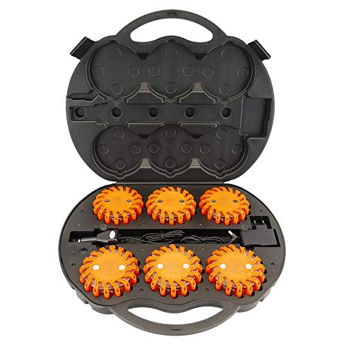 PrimeMatik - Koffer van 6 rode en oranje LED-signaalbakens IP67