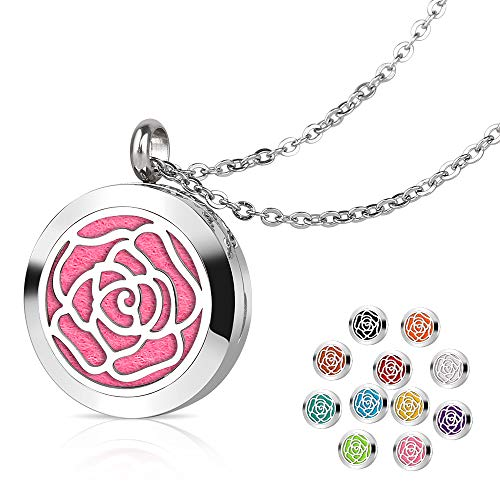 Aromatherapy Essential Oil Diffuser Necklace with Rose pattern - 25mm Adjustable 316L Stainless Steel Perfume Pendant Locket with 11 Color Refill Pads