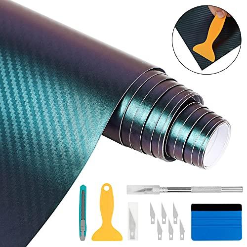 YAOBLUESEA Auto Folie Flexibel Wasserdichter Carbon Vinyl Aufkleber Schutzfolie Lackschutzfolie für Scheinwerfer Tönungsfolie Rückleuchten Blinker Nebelscheinwerfer...