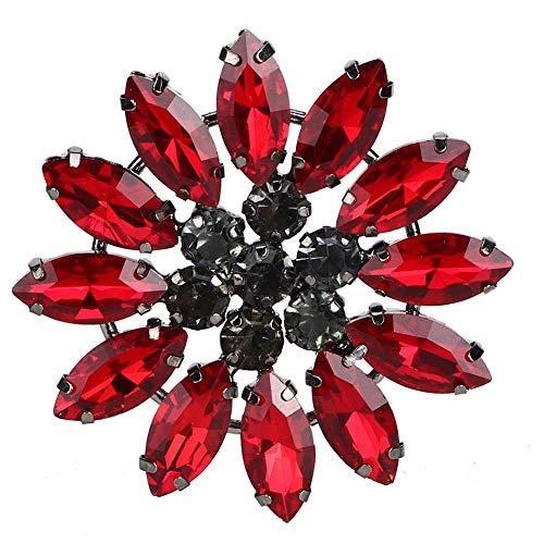 HEEPDD 2 Piezas de Diamantes de imitación de Flores de Vidrio Colorido Apliques de Vidrio para broches de Ropa Bolsos Vestido cinturón Insignia Zapatos Accesorios para el Cabello(Rojo)