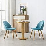 OFCASA Set de 2 Moderno Azúl Sillas de comedor Tela de terciopelo Sillas Cocina con patas de metal Asiento tapizado silla de salón Hogar Mueble
