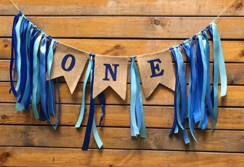 Sllyfo 1st Birthday Decorations,Baby Boys First Birthday Banner,Burlap Highchair Banner for 1st Birthday boy Decorations
