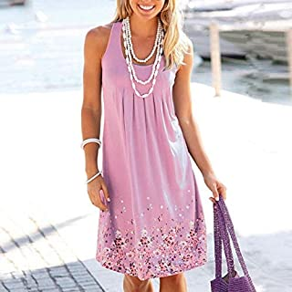 QWERTY Marca Senza Maniche Stampato Il Vestito Allentato delle Donne Europee e Americane Brand:QWERTY (Color : Pink, Size ...