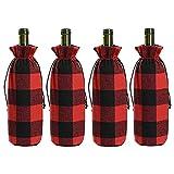 YHNJI 4 fundas de botella de vino a cuadros de búfalo de Navidad, bolsas de botella de vino, bolsas para Navidad, hogar, fiesta, comedor, decoración de mesa
