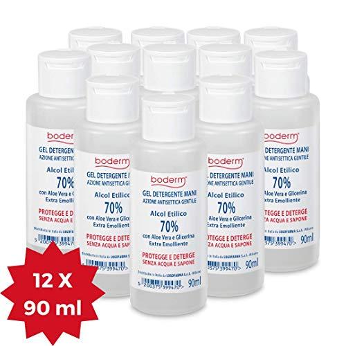 Boderm Gel Igienizzante Mani profumato 12x90ml, 70% Alcool e Aloe Vera