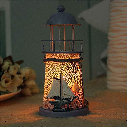 Carry stone Leuchtturm Kerzenhalter, romantische Ozean Muscheln Fischnetz Home Hochzeitsdekoration Kerzenständer (ohne Kerze) Langlebig und praktisch