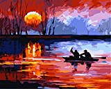 DBDSZYH Paint by Number Kits,DIY Hand Painted Paint by Numbers Digital Oil Painting Rower Sunset Seawater Landscape Modern Abstract Wall Art Pictures for Living Room Home Decor