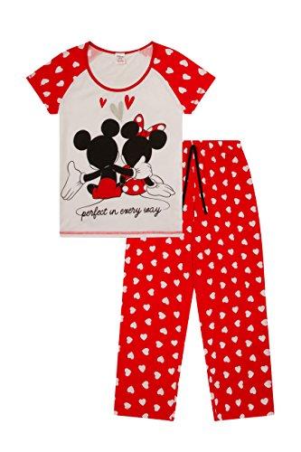 ThePyjamaFactory Damen Schlafanzug Minnie und Mickey Mouse Gr. 36, weiß