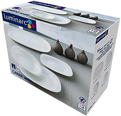 Dajar 00270 service assiettes 19 pièces luminarc carine (blanc/noir)