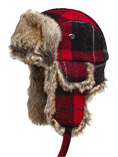 Sterkowski Lumberjack Schottisch Harris Tweed Fallensteller Kappe 61 Schwarz/Rot