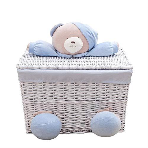 SDFD Cesta de lavandería de Mimbre Hecha a Mano con Tapa Oso Cuadrado pequeño Gran Capacidad Azul Varios Libros Cesta de Almacenamiento Interior Muebles
