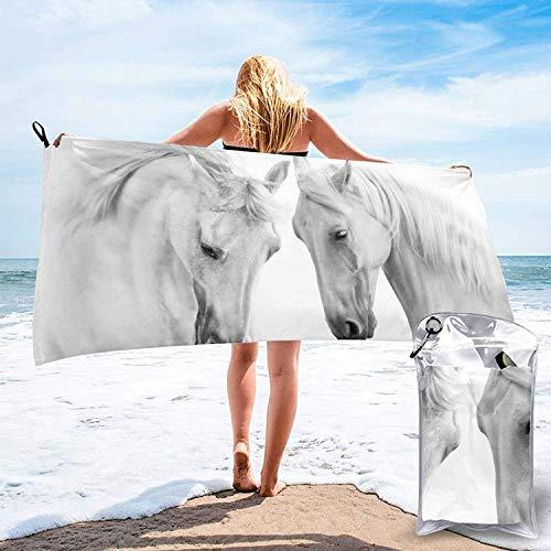 Toalla de baño Blanca con diseño de Caballo, Toalla de Gimnasio, Toalla de Playa, súper Absorbente, Microfibra de Secado rápido Suave, liviana-blanca-27.5 'x55