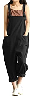 Women's Casual Cotton Linen Plus Size Overalls Baggy Wide Leg Loose Rompers Jumpsuit
