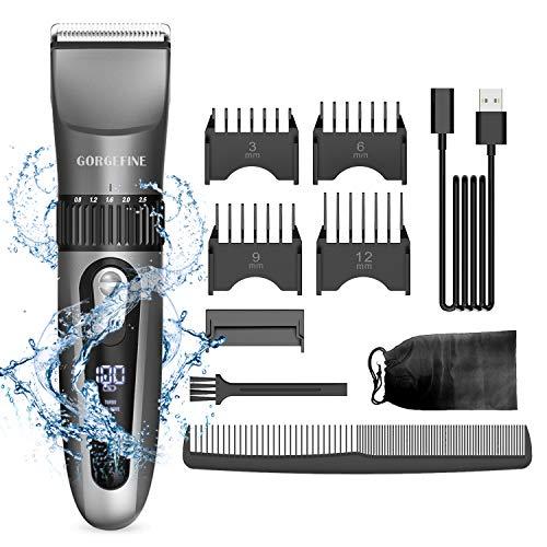 Gorgefine professioneller Haarschneider, wiederaufladbares Haarschneidemaschinen-Set, Beauty-Tool-Set für Männer/Kinder/Babys/Haarschnitte, wasserdichtes Haarschneidemaschinen-Set und Führungsbürste