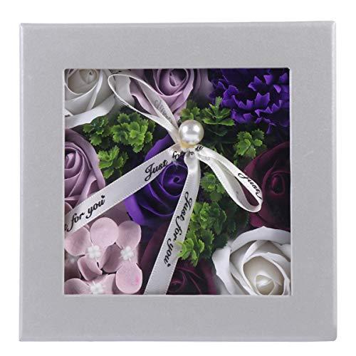 BESPORTBLE Sabonete de rosas artificiais, flores com janela transparente, pétalas de rosa perfumadas para presente de aniversário de casamento, presente de aniversário de casamento (roxo)