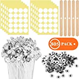200 Pieces 8 Inch Candle Wicks Cotton Natural Candle Wick, 400 Pieces Candle Wick Stickers, 200 Pieces Metal Tabs with 5 Pieces Candle Wick Holders for DIY Candle Making Accessories