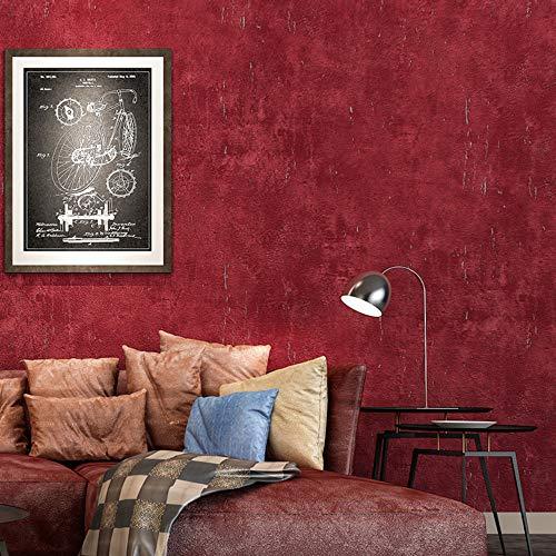 Haushaltsartikel Tapeten Retro simulierter Zement Bekleidungsgeschäft Restaurant Café Hintergrundwand PVC wasserdicht nicht klebend 053m * 10m weinrot