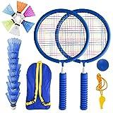 Herefun Raquetas Badminton Niños, Set de Bádminton para Niños, Raqueta de Juguete Deportivo Bádminton con 2 Raquetas de bádminton y 16 Volantes, Juego de Deportes de Playa al Aire Libre (Azul)